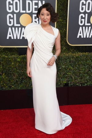 Sandra Oh arrives at the 76th annual Golden Globe Awards at the Beverly Hilton Hotel on Sunday, Jan. 6, 2019, in Beverly Hills, Calif. (Photo by Jordan Strauss/Invision/AP)