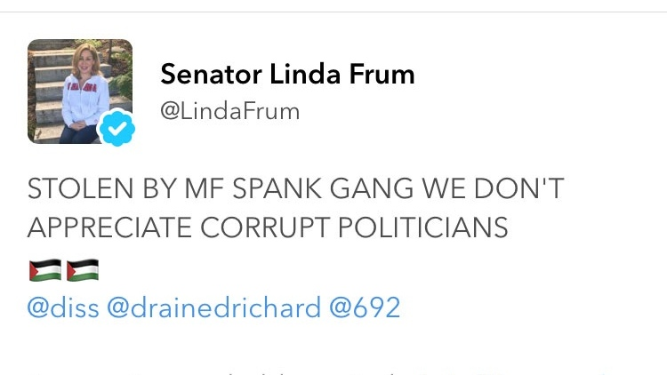 A screen grab of Conservative Senator Linda Frum's Twitter account after it was hacked Sunday night, with those responsible sharing personal information including her drivers licence and using racial slurs in their tweets.