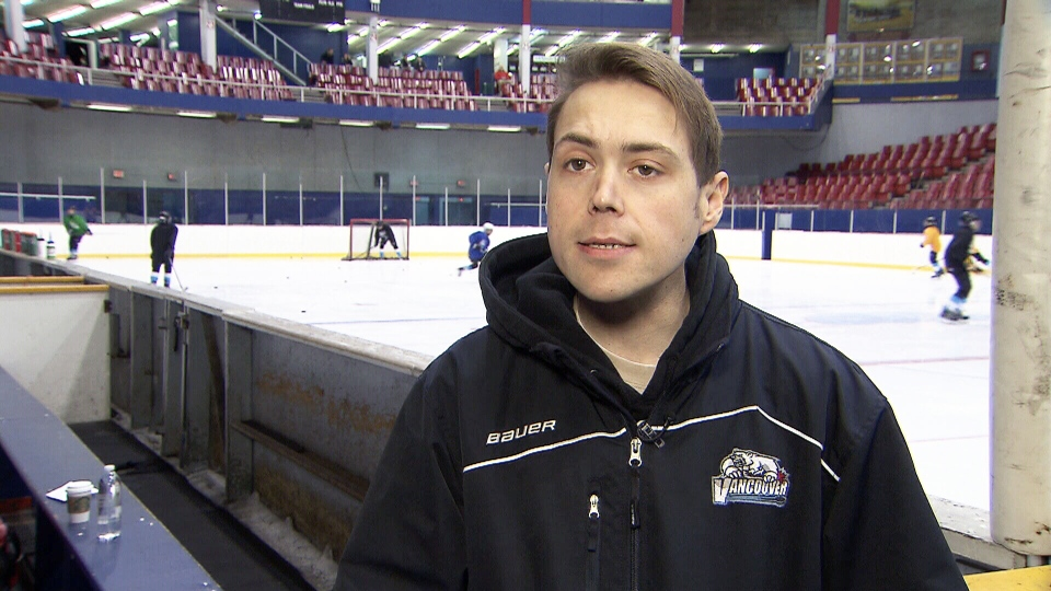 Stephen Gillis is seen at a hockey arena in Vancouver. The peewee hockey coach is battling a rare and incurable kidney disease.