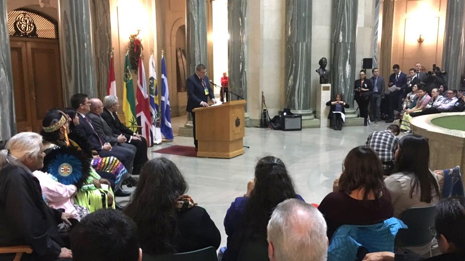 Sask. Premier Scott Moe apologizes to '60s Scoop survivors in Regina, Monday, Jan. 7, 2019. (Creeson Agecoutay / CTV News)