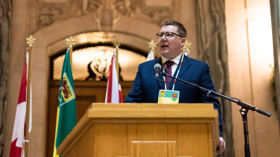 Premier Scott Moe speaks during the Apology to Sixties Scoop Survivors at the Legislative Building in Regina on Monday January 7, 2019. (THE CANADIAN PRESS/Michael Bell)