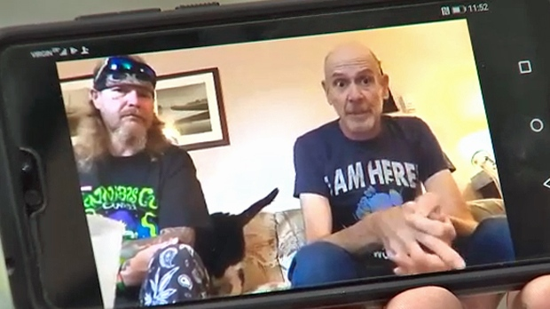 Rick Beaver (right) appears in an undated Calgary Cannabis Club video. The club attempted to make a donation in his memory to the Tom Baker Cancer Centre but the donation was refused.