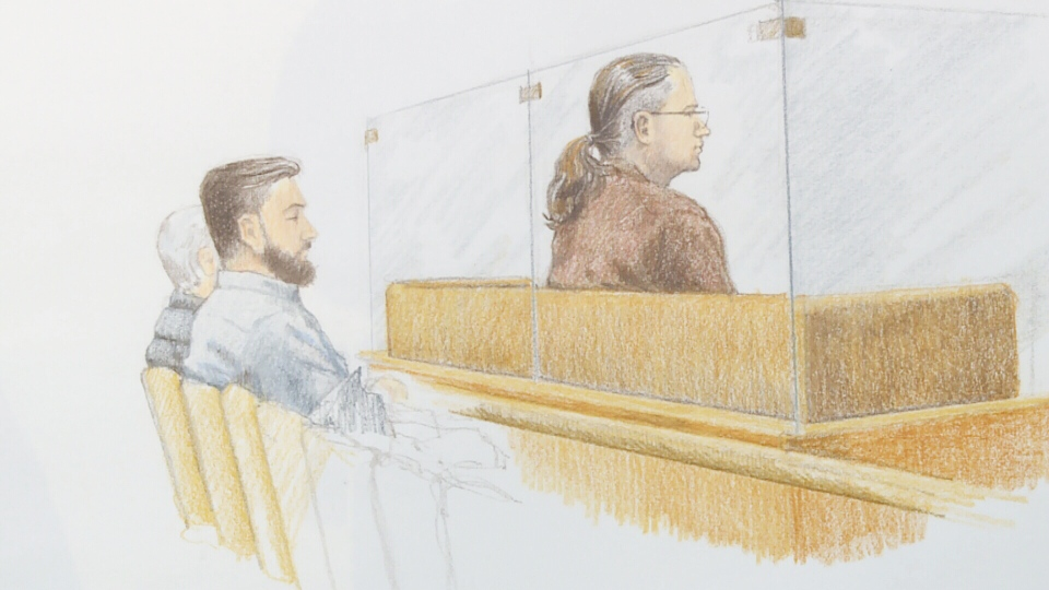 Wade Skiffington is seen in a court sketch by Jane Wolsak in Vancouver on Monday, Jan. 7, 2018. His son, Ian, is seated behind him.