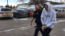 Keegan Muxlow leaves Weyburn court on Jan. 8, 2019 (Taylor Rattray / CTV Regina)