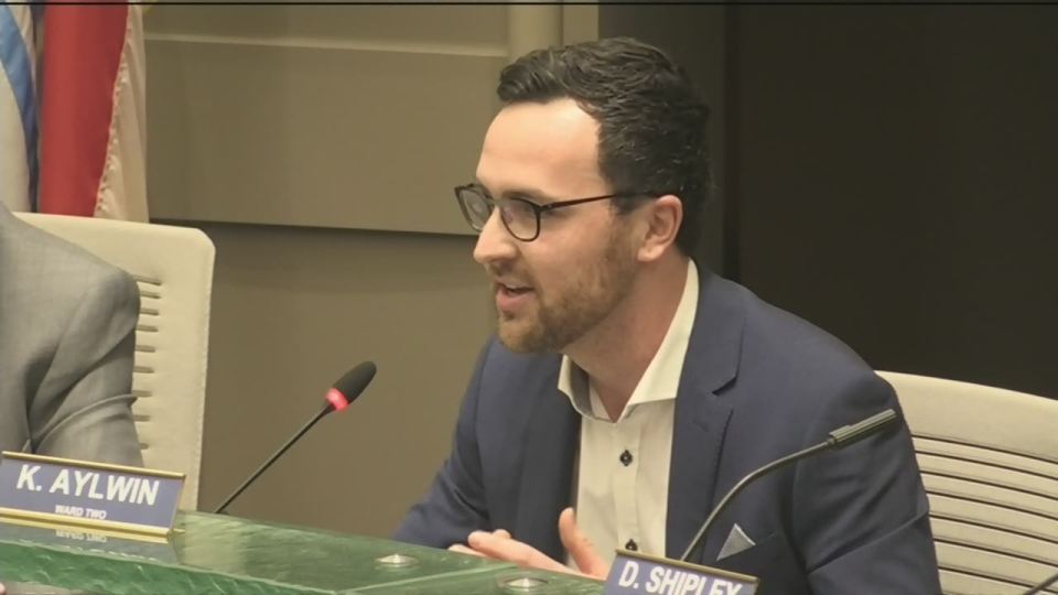 Barrie city councillor, Keenan Aylwin, speaks at Barrie city council on Monday, Jan. 7, 2019 (CTV News/Aileen Doyle)