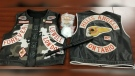 Two Hell's Angels vests, cocaine and brass knuckles seized during searches in London, Ont. on Saturday, Jan. 5, 2018 are seen in this image released by OPP.