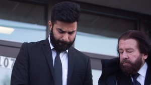Jaskirat Singh Sidhu leaves provincial court in Melfort, Sask., Tuesday, Jan. 8, 2019. (THE CANADIAN PRESS/Kayle Neis)