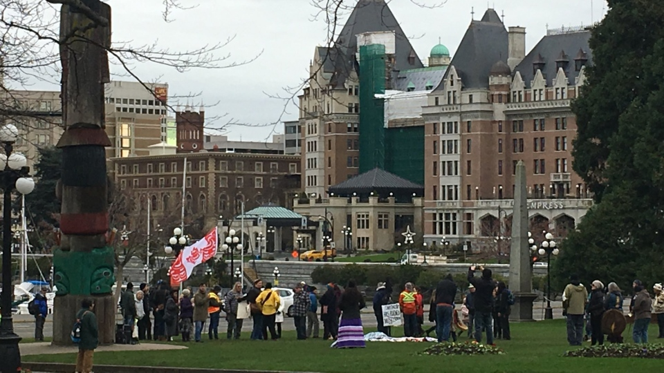 Supporters of Indigenous anti-pipeline protesters in northern B.C. gather on the law of the B.C. Legislature in Victoria. Jan. 8, 2019. (CTV Vancouver Island)