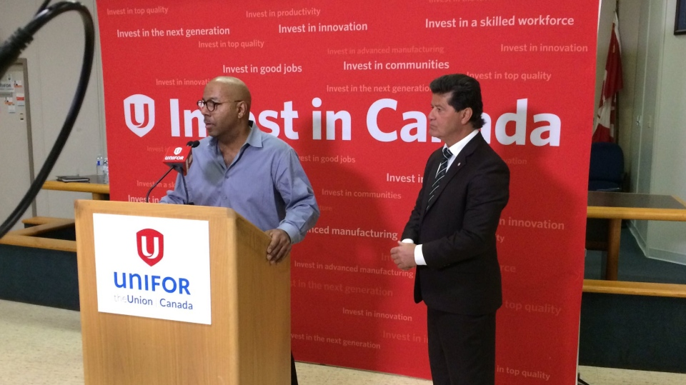 Unifor president Jerry Dias (right) speaks to media in Windsor, Ont., on Tuesday, Jan. 8, 2018. (Stefanie Masotti / CTV Windsor)