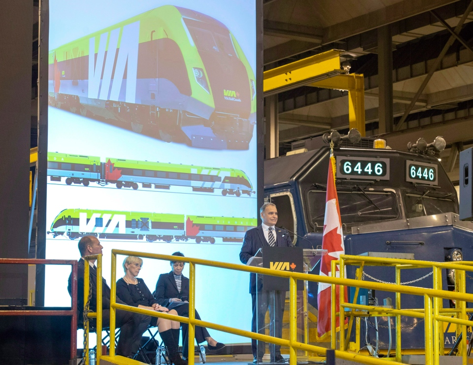 Via Rail chief executive Yves Desjardins-Siciliano, announces a new contract with Siemens Wednesday, December 12, 2018 in Montreal. (THE CANADIAN PRESS/Ryan Remiorz)