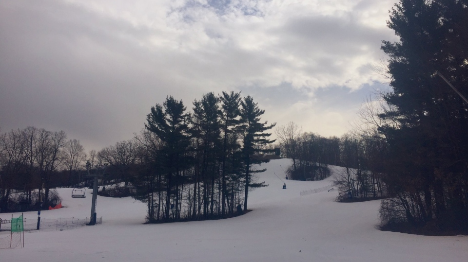 Despite the mild weather, skiers were on the slopes at Boler Mountain in London, Ont. on Tuesday, Jan. 8, 2019. (Sacha Long / CTV London)