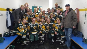 Members of the Humboldt Broncos junior hockey team are shown in a photo posted to the team Twitter feed, @HumboldtBroncos on March 24, 2018 after a playoff win over the Melfort Mustangs.(Twitter/@HumboldtBroncos)