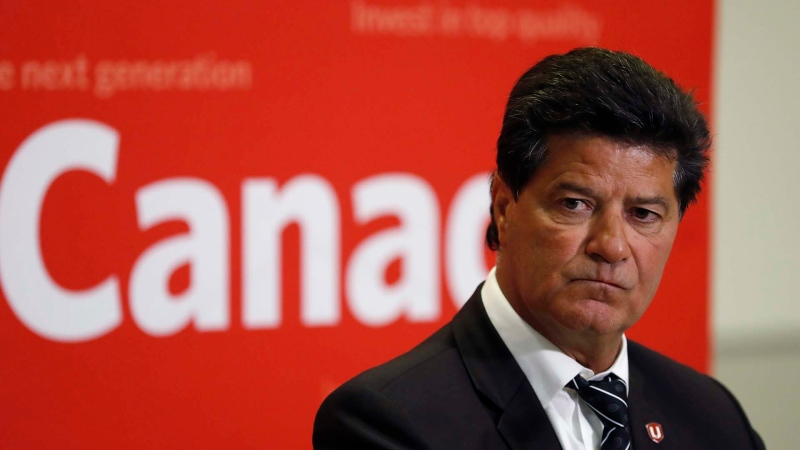 Unifor National President Jerry Dias addresses the media, Tuesday, Jan. 8, 2019, in Windsor, Ont. Dias spoke following a meeting between the union and General Motors on proposals to save the Oshawa Assembly Plant. (AP Photo/Carlos Osorio)