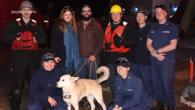 Dog Logan being returned to his owners after crossing into Michigan, (Source: WWTV)