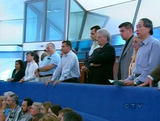 It was standing room only at Toronto City Hall during the debate on Monday, July 16, 2007.