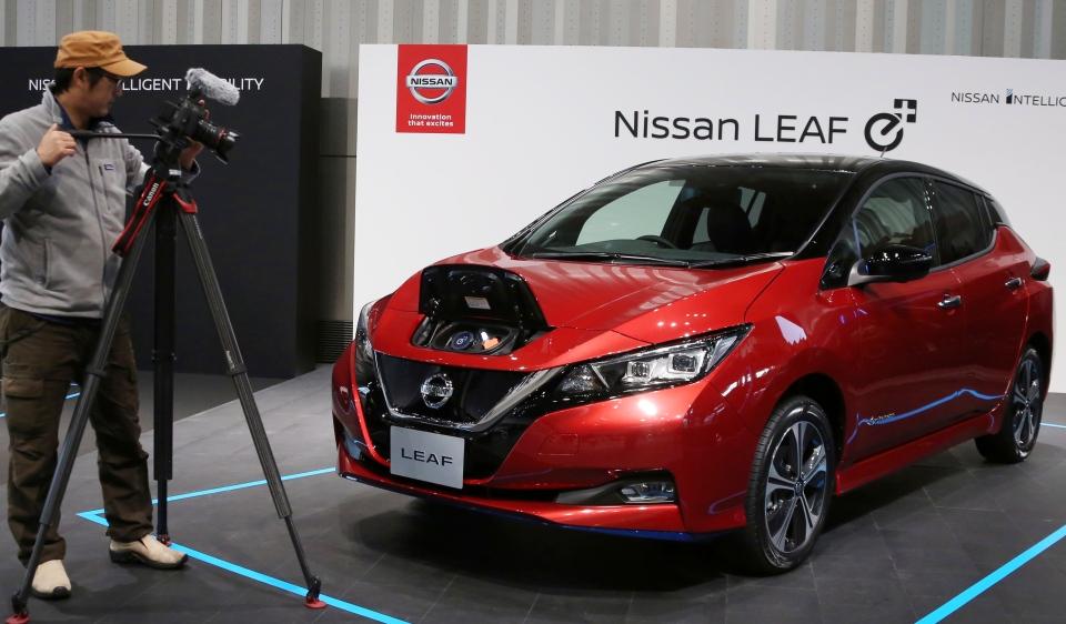 Nissan LEAF e+ is on display at the global headquarters of Nissan Motor Co., Ltd. in Yokohama Wednesday, Jan. 9, 2019. (AP Photo/Koji Sasahara)