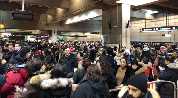 An incident at Champ-de-Mars metro on the Orange line forced a temporary metro system shutdown - causing overcrowding at transitional stations like Lionel-Groulx. (Photo by Sean Coleman)