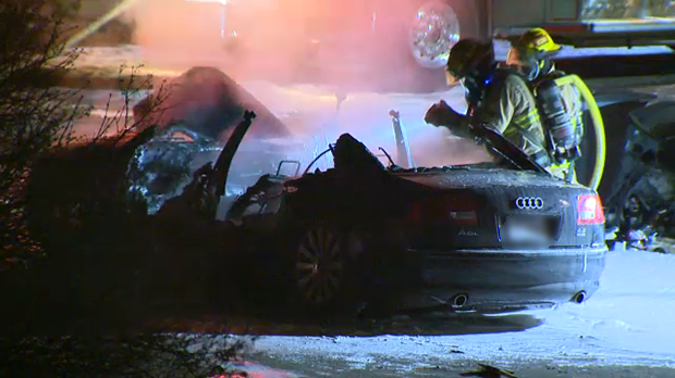 Calgary firefighters were called to the scene of a vehicle fire outside a home in the city's southwest early Wednesday morning.