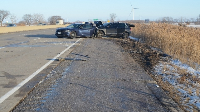 An Essex County police cruiser involved in a crash on Dec. 23, 2017. (SIU)
