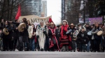 Protesters march in support of pipeline protesters in northwestern British Columbia, in Vancouver, on Tuesday, Jan. 8, 2019. THE CANADIAN PRESS/Darryl Dyck