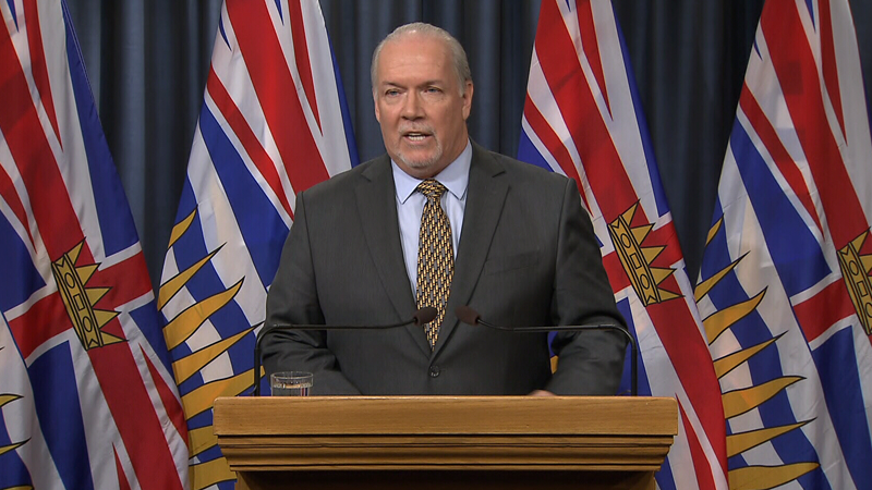 B.C. Premier John Horgan speaks to reporters about the showdown between RCMP and Indigenous LNG protesters in the province's north. Jan. 9, 2019.