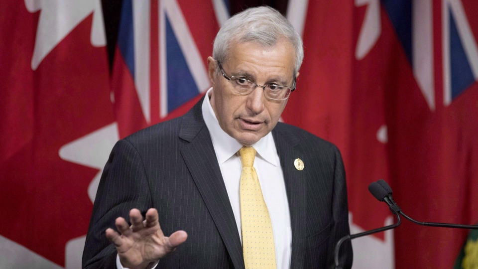 Ontario PC Interim Leader Vic Fedeli addresses the media at Ontario Legislature in Toronto on Tuesday February 20, 2018. THE CANADIAN PRESS/Chris Young