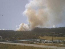 A large forest fire has broken out not far from the Gorman Bros. lumber mill in West Kelowna, B.C. (Courtney Haines) July 18th, 2009.