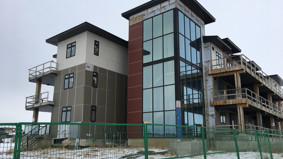 Glasshouse Condos in Regina's east end remain unfinished. (Taylor Rattray/CTV Regina)