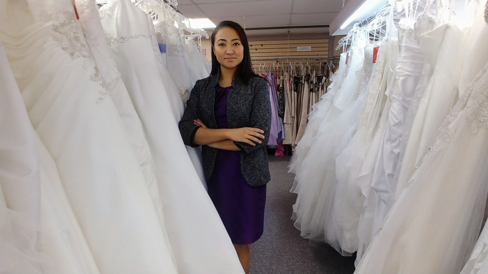 Jeanny Buan, owner of Mylynh Bridal & Sew, is using her upbringing to shape the bridal business into a sustainable one. (Saron Fanel/CTV Saskatoon)