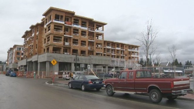 Construction on complexes like the Belmont Residences in Langford helped propel Greater Victoria to its highest number of housing starts since 1976, according to a new report. Jan. 9, 2018. (CTV Vancouver Island)
