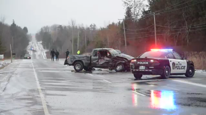 One man is dead and another was sent to hospital after a truck crash in Halton.