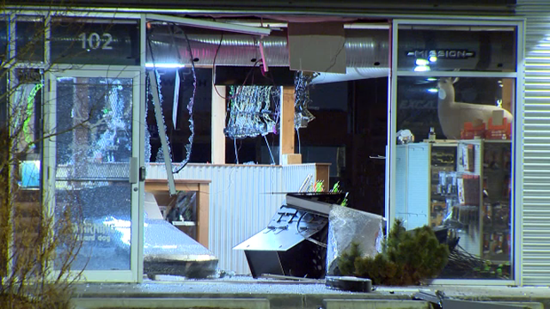 A vehicle smashed into the front of an archery store in the northeast on Thursday, January 10, 2019.