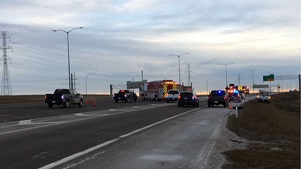Police units block off the road near a serious crash on Stoney Trail on Thursday, January 10, 2018.