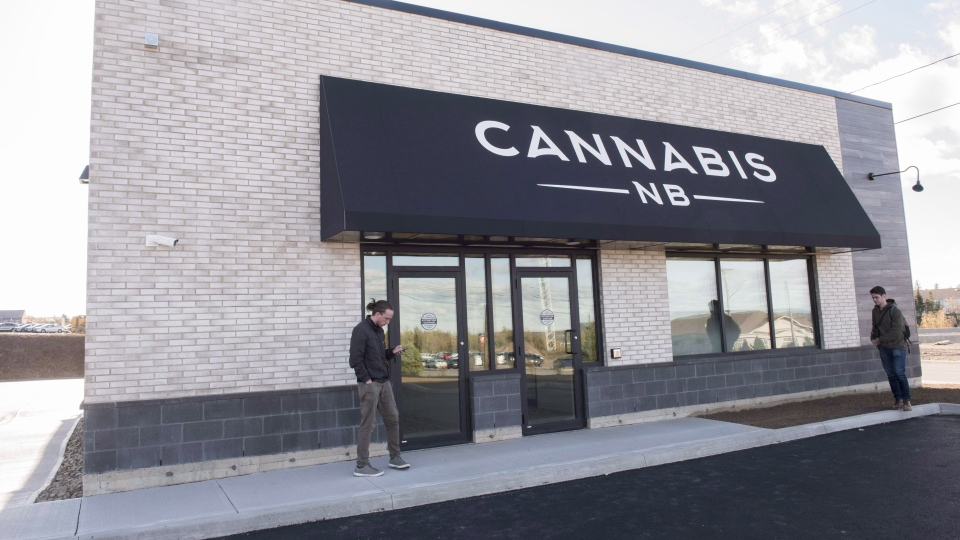 The exterior of a Cannabis NB retail store is shown in Fredericton, N.B., on Tuesday October 16, 2018.  (THE CANADIAN PRESS/Stephen MacGillivray)