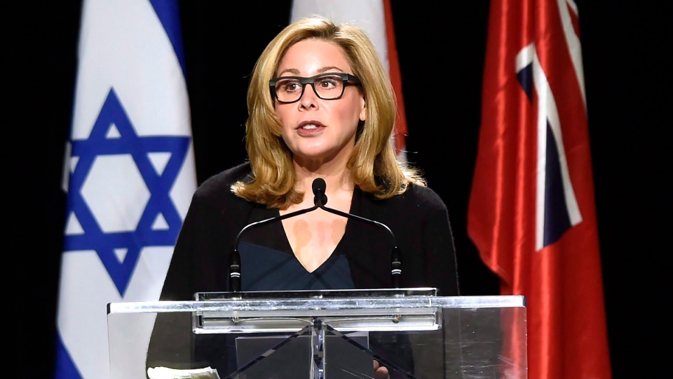 Senator Linda Frum speaks during the memorial service for Apotex billionaire couple Barry and Honey Sherman in Mississauga, Ontario on Thursday, December 21, 2017. (THE CANADIAN PRESS/Nathan Denette)