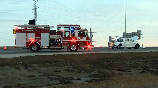 A pickup truck was damaged in the crash that shut down several lanes on Stoney Trail on Thursday.