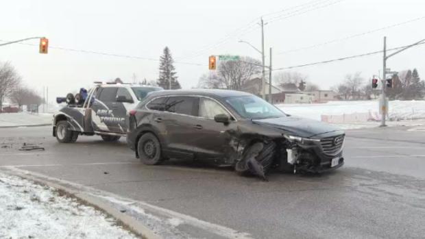 A vehicle after a three-vehicle crash