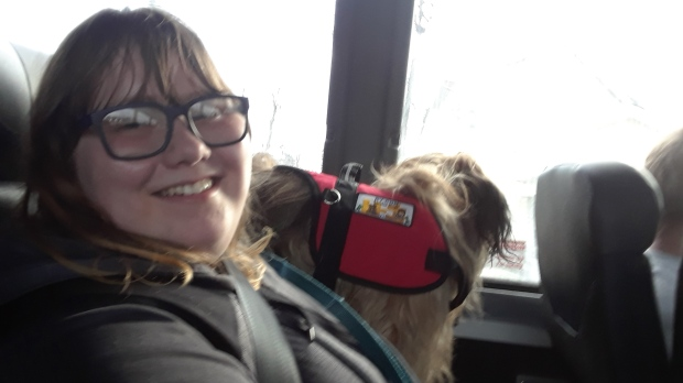 Katie Evans is seen with her service dog Bailey in this supplied photo. (Nancy Evans)
