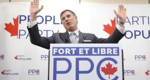 Maxime Bernier speaks at a People's Party of Canada rally in Gatineau, Que., on November 20, 2018. THE CANADIAN PRESS/ Patrick Doyle