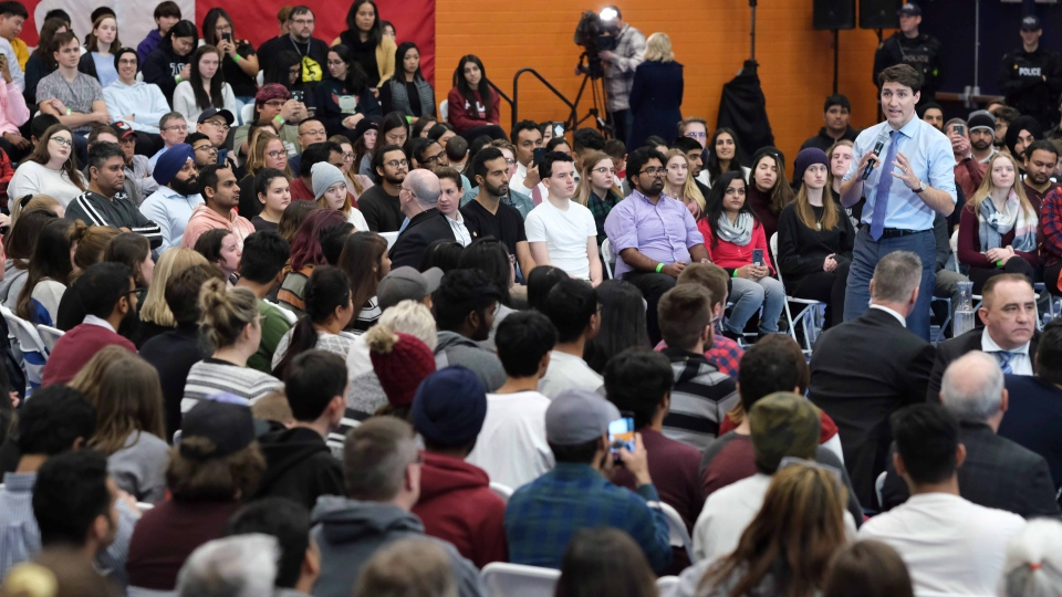 Prime Minister Justin Trudeau participates in a town hall Q&A at Thompson Rivers University in Kamloops, B.C. on Wednesday Jan. 9, 2019. THE CANADIAN PRESS/Kim Anderson