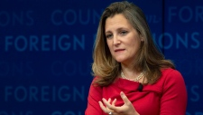 In this Sept. 25, 2018 file photo, Canadian Foreign Affairs Minister Chrystia Freeland participates in a discussion at the Council on Foreign Relations in New York. THE CANADIAN PRESS/Adrian Wyld