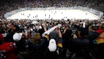 Fans celebrate a goal by Vegas Golden Knights left wing Tomas Nosek, of the Czech Republic, during the third period in Game 1 of the NHL hockey Stanley Cup Finals against the Washington Capitals in Las Vegas on May 28, 2018. THE CANADIAN PRESS/AP, Ross D. Franklin