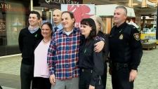 Tissue recipient Jon Braun with police, paramedics, coroner