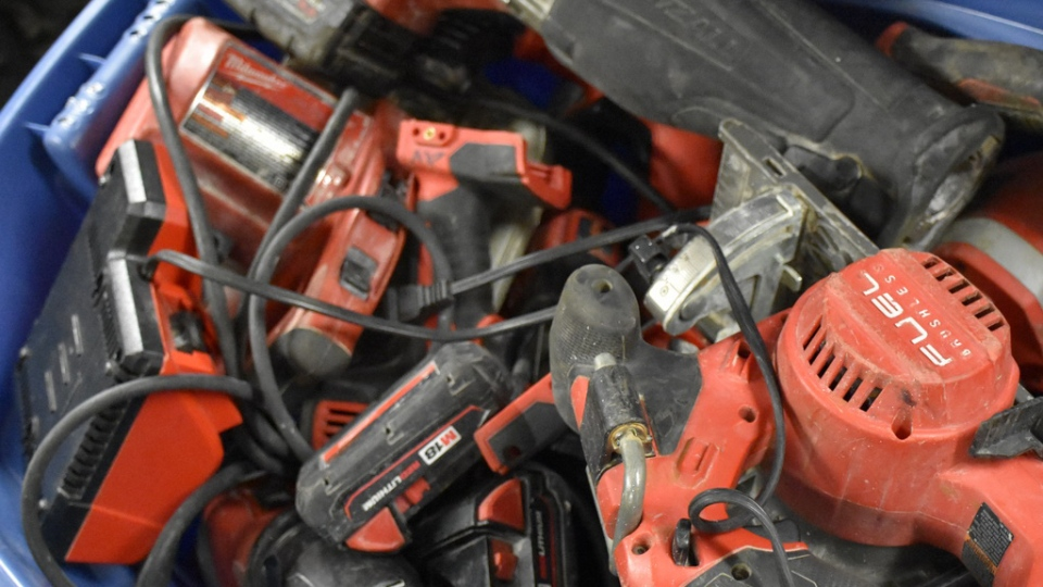 Power tools recovered by Mounties in Richmond are seen in this provided photo.