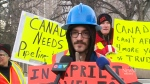 Protesters gather at Trudeau event
