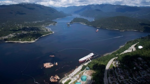 A aerial view of Kinder Morgan's Trans Mountain marine terminal, in Burnaby, B.C., is shown on Tuesday, May 29, 2018. (THE CANADIAN PRESS/Jonathan Hayward)