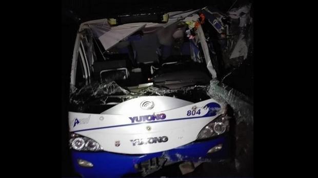 A badly-damaged coach bus is seen in eastern Cuba on Jan. 11, 2019. (@CorabachoTV/Twitter)