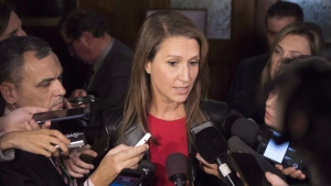 Ontario's Attourney General Caroline Mulroney talks the media at Queens Park, in Toronto on Monday, Nov. 19, 2018. THE CANADIAN PRESS/Chris Young
