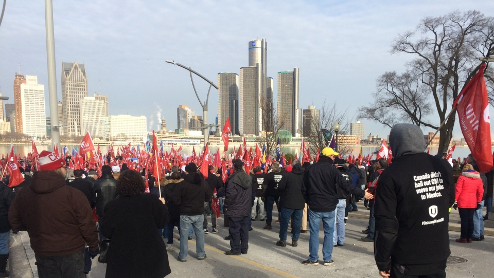 Unifor members gather for GM rally in Windsor, Ont., on Friday, Jan. 11, 2019. (Michelle Maluske / CTV Windsor)
