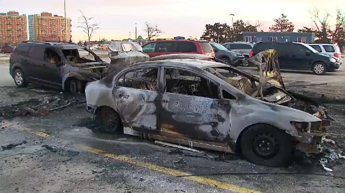 Burned out cars sit in the parking lot at Woodbine Racetrack after a fire left several vehicles destroyed on January 11, 2019.